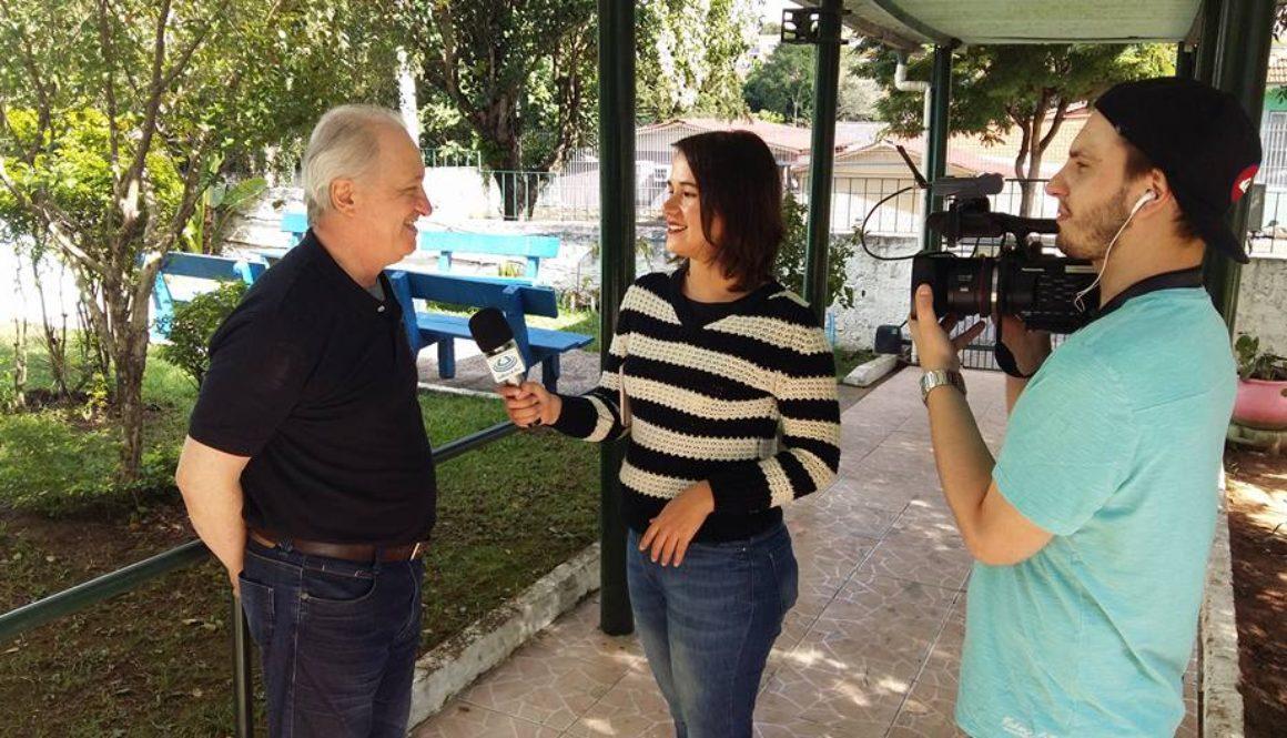 Ulbra TV gravando matéria sobre liga acadêmica
